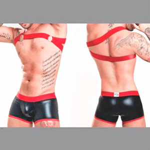 Boxer Imitacion Cuero con Sesgos ideal fetiches - B206