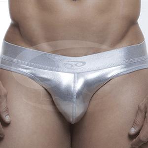 Tanga plateada Descaderada Imitación Cuero con Pretina ancha T233
